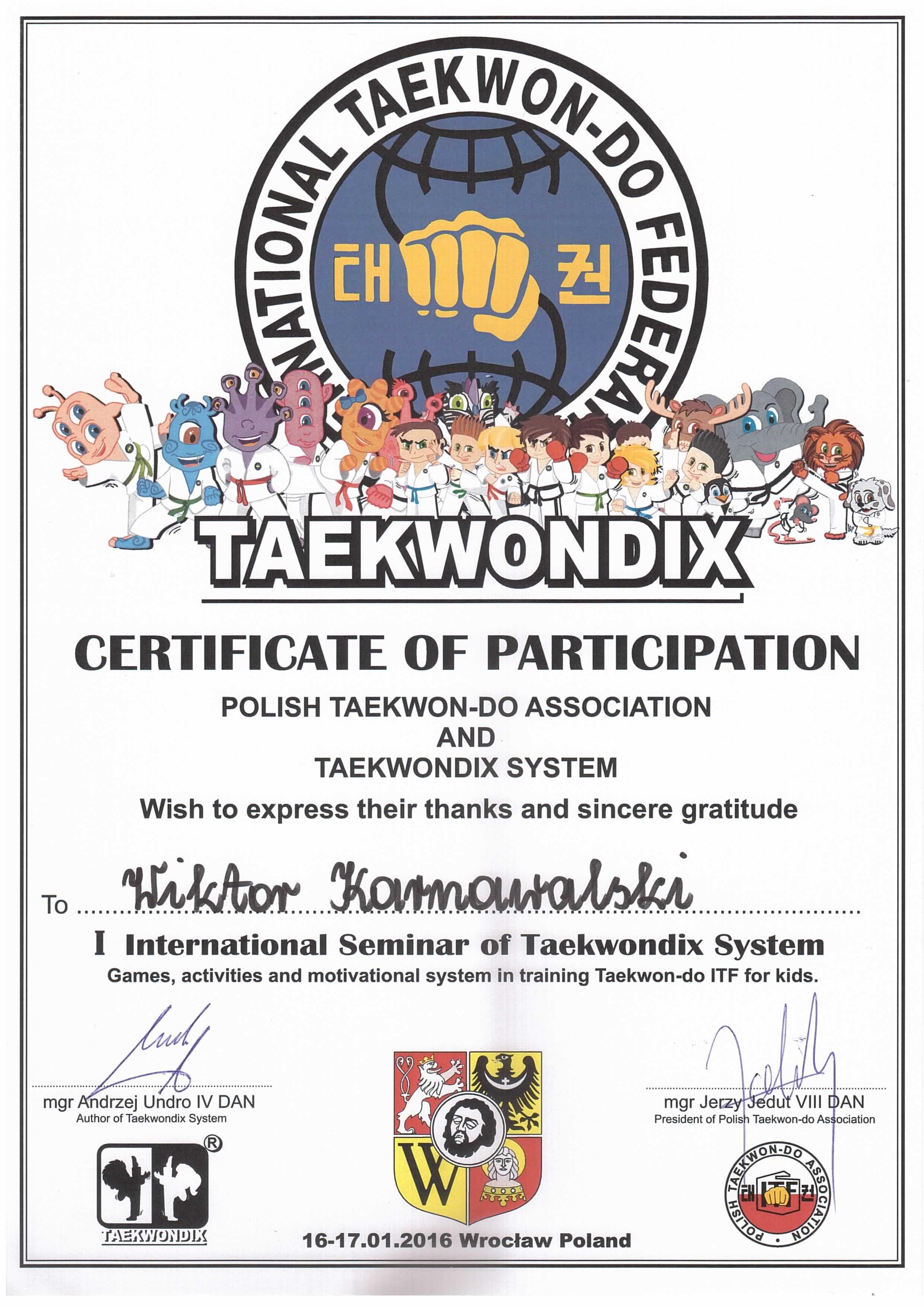 Taekwondix - certyfikat 2016