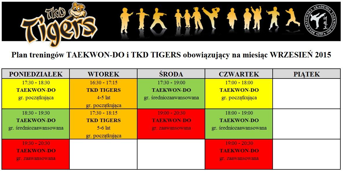 Plan treningów TKD i TKD TIGERS wrzeiseń 2015