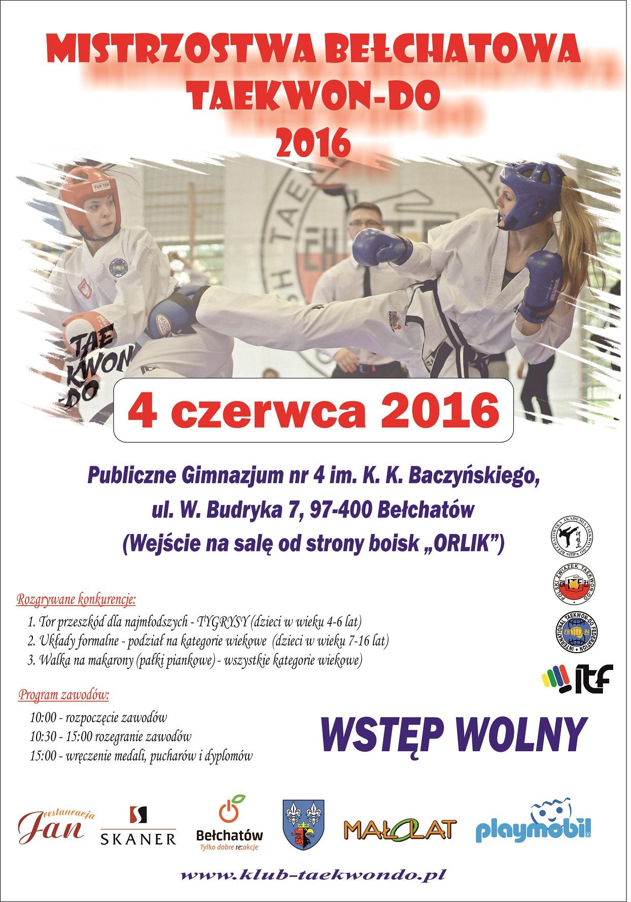 PLAKAT 2016 - Mistrzostwa Bełchatowa TKD